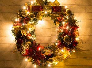 Рождественский венок c огоньками