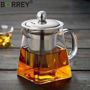 Стеклянный чайник термостойкий BORREY